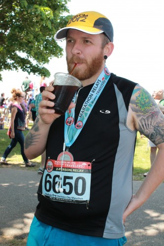 Enjoying a Cold Brew After My First Half Marathon