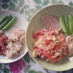 Sauteed veggies, hummus and snap peas